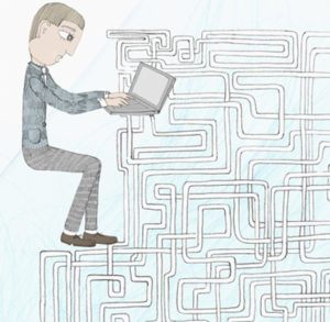 Drawing of man typing on laptop surrounded by a maze