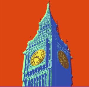 Multicolor drawing of Big Ben